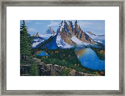Framed Print featuring the painting Sun Burst Peak by Sharon Duguay