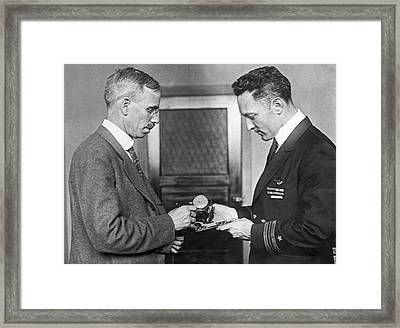 Sun Compass For Admiral Byrd Framed Print by Underwood Archives