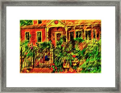 Framed Print featuring the painting Sun Dial House by Ted Azriel