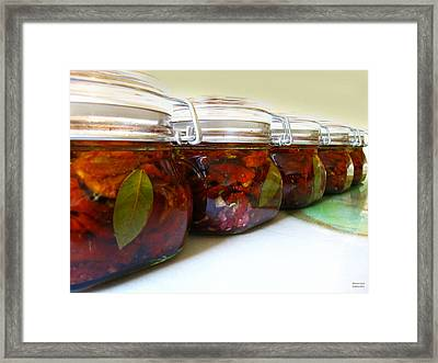 Sun Dried Tomatoes In Glass Jars Framed Print