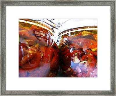 Sun Dried Tomatoes In Jars Framed Print