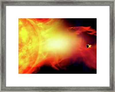 Sun Engulfing The Earth Framed Print by Victor Habbick Visions/science Photo Library