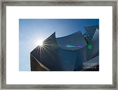 Sun Flare Over Walt Disney Concert Hall In Downtown Los Angeles Framed Print by Jamie Pham
