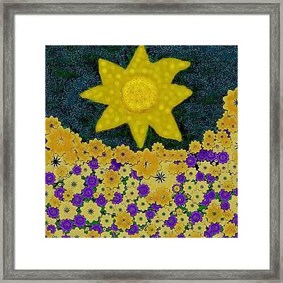 Sun Flower Field Framed Print by Pepita Selles
