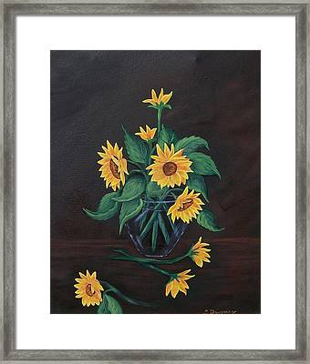 Framed Print featuring the painting Sun Flowers  by Sharon Duguay