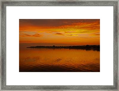 Framed Print featuring the pyrography Sun Going Down In Jastarnia by Julis Simo