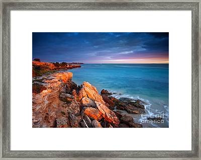 Framed Print featuring the photograph Sun Lights And The Rocks by Boon Mee