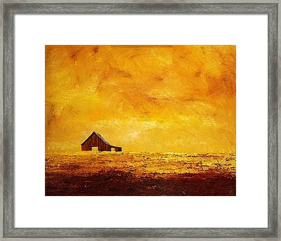 Framed Print featuring the painting Sun Lit Barn by William Renzulli