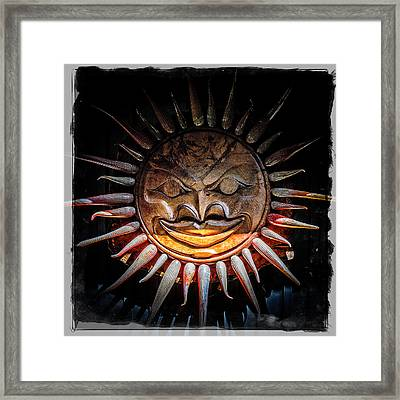 Sun Mask Framed Print by Roxy Hurtubise