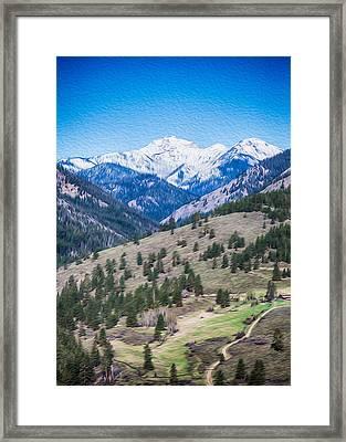 Sun Mountain View Of Mt Gardner In Springtime Framed Print by Omaste Witkowski