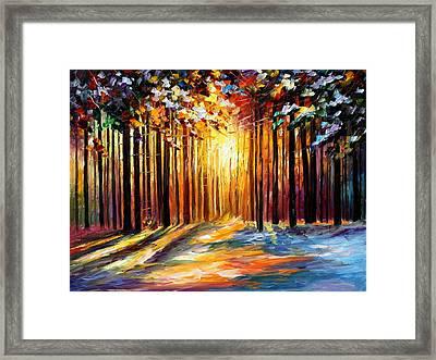 Sun Of January - Palette Knife Landscape Forest Oil Painting On Canvas By Leonid Afremov Framed Print