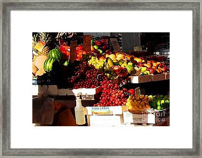 Sun On Fruit Close Up Framed Print by Miriam Danar