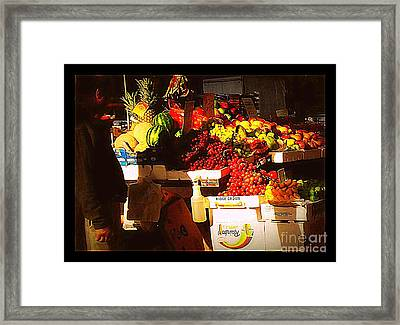 Sun On Fruit Framed Print by Miriam Danar