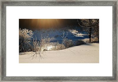 Sun On Snow Framed Print by Mim White