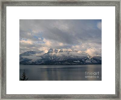 Sun On The Mountains Framed Print by Leone Lund