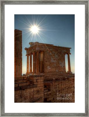Sun Over Athena Nike Temple Framed Print by Deborah Smolinske