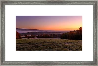 Sun Over Fog On An Autumn Morning Framed Print
