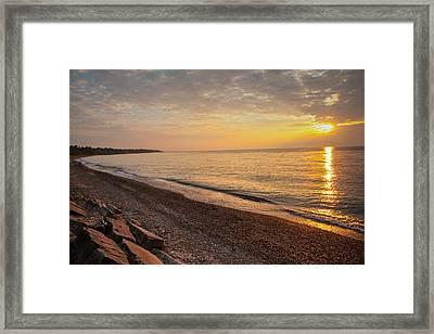 Framed Print featuring the photograph Sun Over Lake Erie Shoreline by David Coblitz