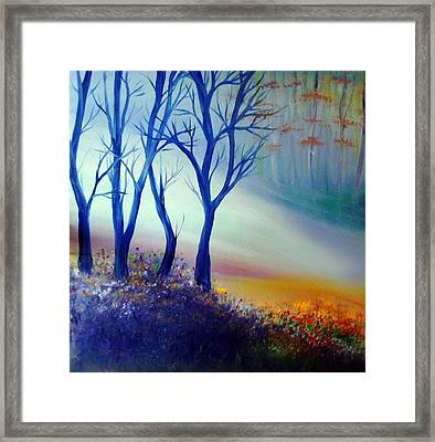 Framed Print featuring the painting Sun Ray In Blue  by Lilia D