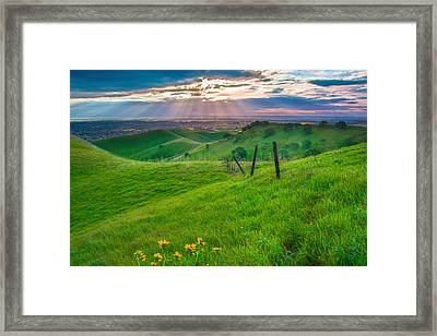 Sun Rays And Green Hillside Framed Print
