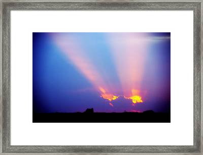Sun Rays At Sunset Framed Print
