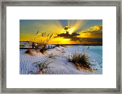 Sun Rays Golden Landscape Framed Print by Eszra Tanner