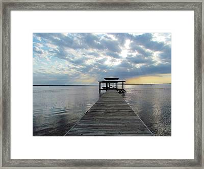 Framed Print featuring the photograph Sun Rays On The Lake by Cynthia Guinn
