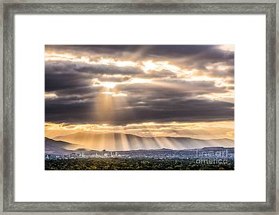 Sun Rays Over Reno Framed Print by Janis Knight