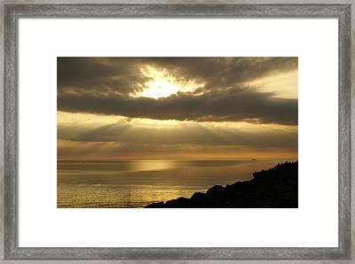 Sun Rays / Sea Pier Framed Print by Gynt