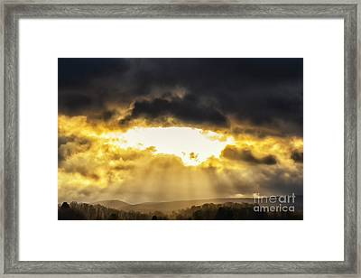 Sun Rays Stormy Sky Framed Print by Thomas R Fletcher