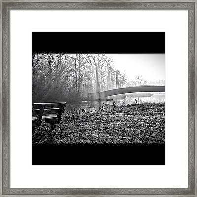 Sun Rays Through The Mist Framed Print