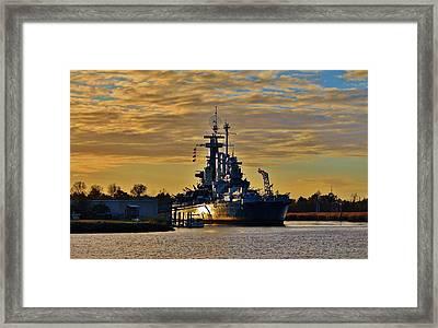 Sun Reflecting On Battleship Framed Print