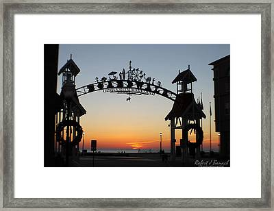 Sun Reflecting On Clouds Ocean City Boardwalk Arch Framed Print