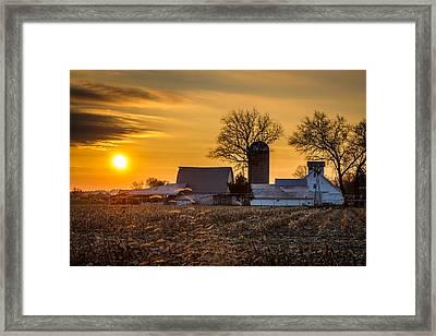 Sun Rise Over The Farm Framed Print
