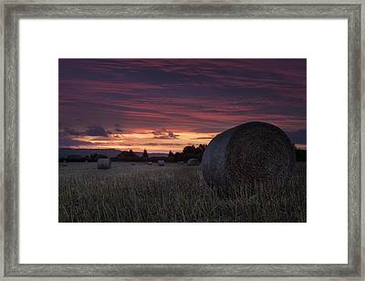 Framed Print featuring the photograph Sunrise Over The Harvest by Stewart Scott