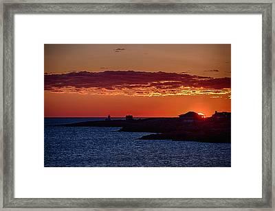 Sun Rising Over Straightsmouth Light Framed Print by Jeff Folger