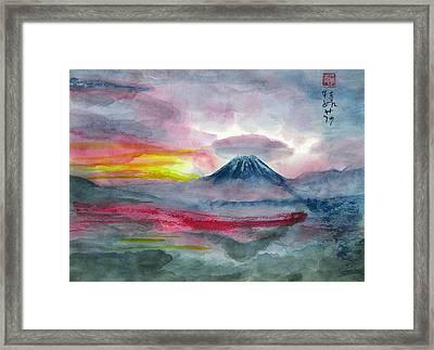 Sun Salutation At Mt. Fuji Framed Print