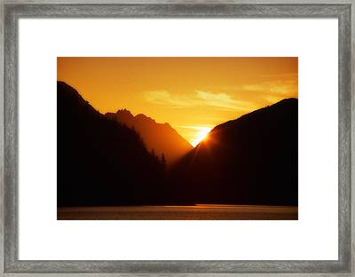 Sun Set Over The Lake Framed Print