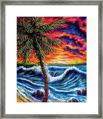 Sun Set Palm Framed Print