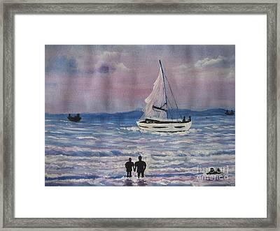 Sun Set Framed Print by Usha Rai