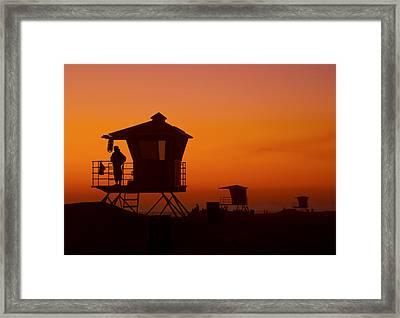 Sun Sets On Huntington Beach Framed Print
