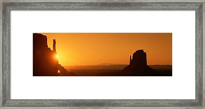 Sun Setting At Monument Valley, Arizona Framed Print by Panoramic Images
