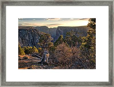 Sun Setting At Painted Wall Framed Print