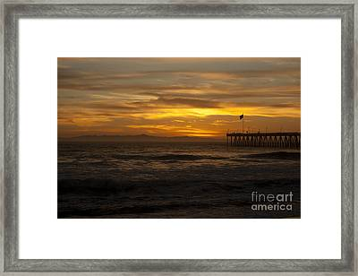 Sun Setting Behind Santa Cruz With Ventura Pier 01-10-2010 Framed Print