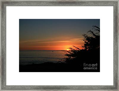 Sun Setting In Cambria Calm Pacific Framed Print by Ian Donley