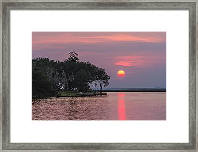 Sun Setting In The Bayou Framed Print