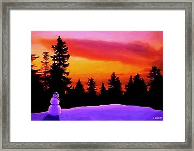 Sun Setting On Snow Framed Print