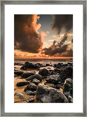 Sun Setting On The Beach II Framed Print by Marco Oliveira