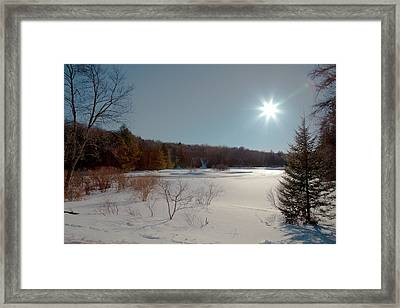 Sun Setting On The Moose River - Old Forge New York Framed Print by David Patterson