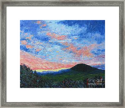 Sun Setting Over Mole Hill - Sold Framed Print by Judith Espinoza
